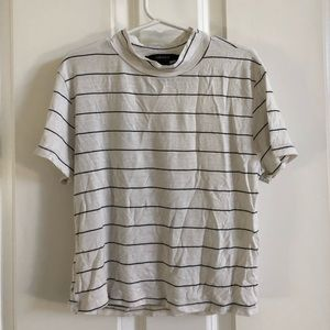 stripped high neck tee